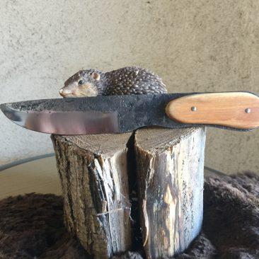 Couteau forgé a partir d'un couteau de broyeur. rajout en pommier. 60 euros.